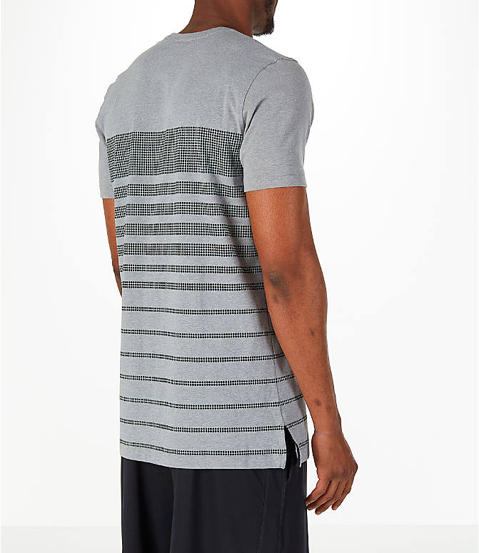 Back Right view of Men's Under Armour Sportstyle Stripe T-Shirt in Grey/Dark Grey