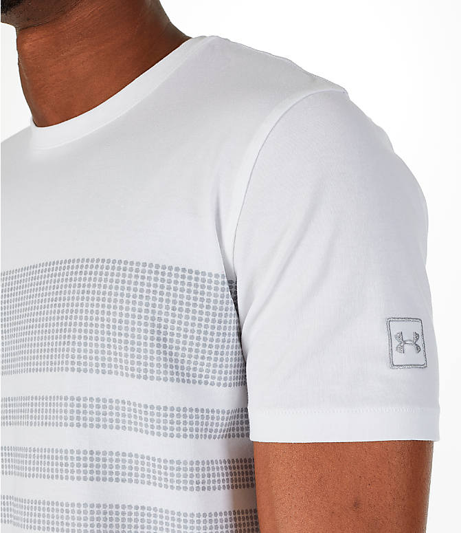Detail 1 view of Men's Under Armour Sportstyle Stripe T-Shirt in White/Grey