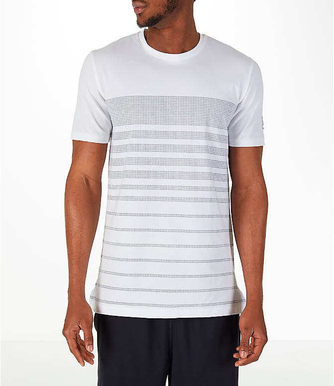 Front view of Men's Under Armour Sportstyle Stripe T-Shirt in White/Grey