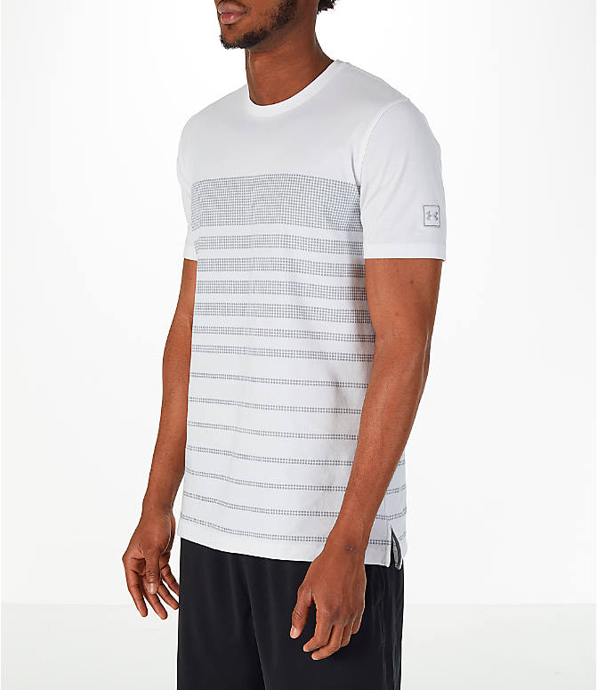 Front Three Quarter view of Men's Under Armour Sportstyle Stripe T-Shirt in White/Grey