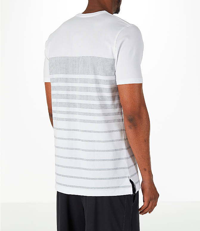 Back Right view of Men's Under Armour Sportstyle Stripe T-Shirt in White/Grey