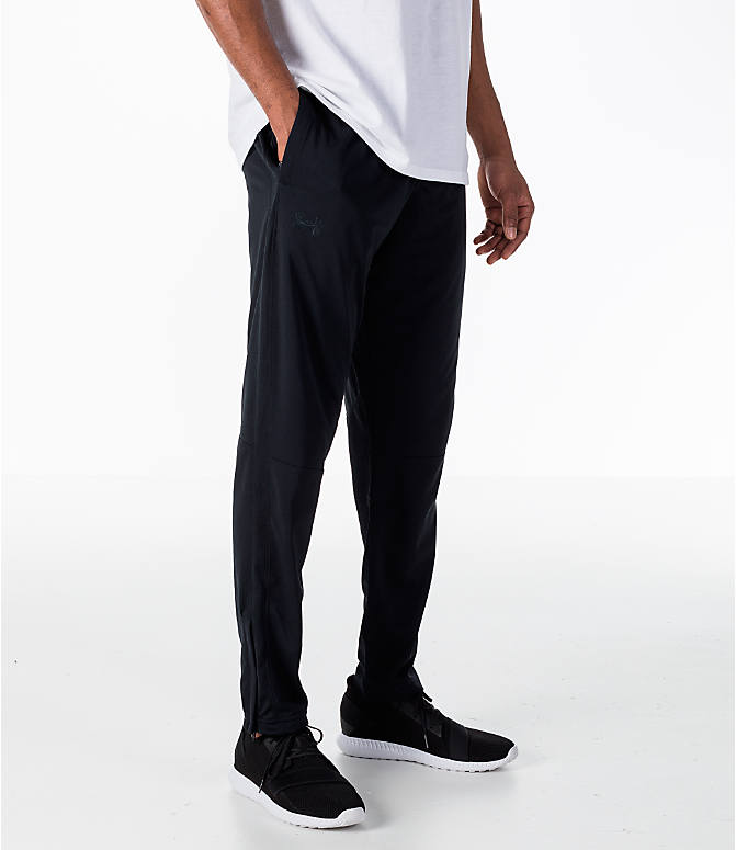 Front view of Men's Under Armour Sportstyle Pique Training Pants in Black