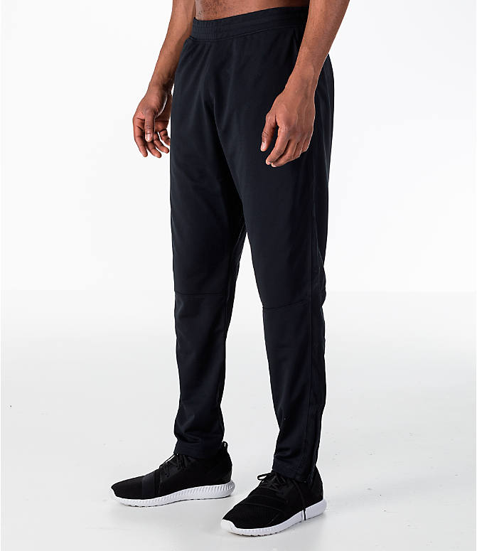 Front Three Quarter view of Men's Under Armour Sportstyle Pique Training Pants in Black