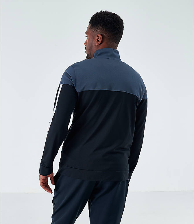 Back Left view of Men's Under Armour Sportstyle Pique Full-Zip Training Jacket in Stealth Gray/White