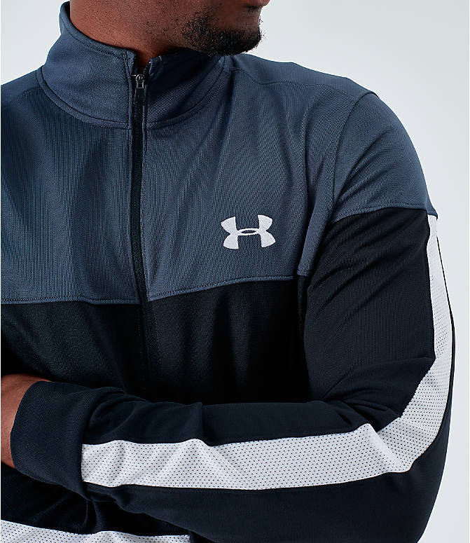 Back Right view of Men's Under Armour Sportstyle Pique Full-Zip Training Jacket in Stealth Gray/White