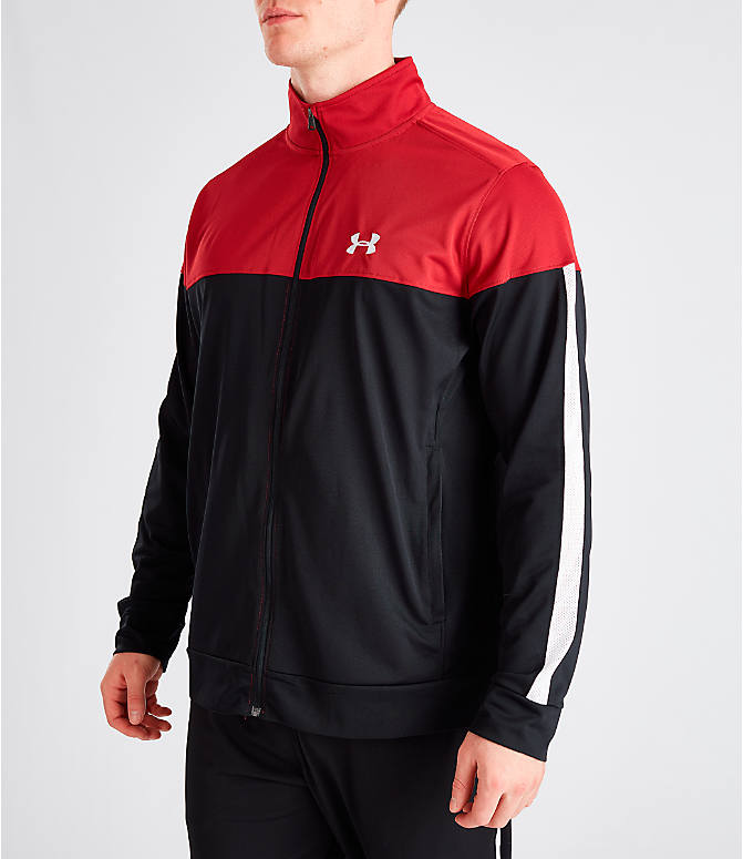 Front Three Quarter view of Men's Under Armour Sportstyle Pique Full-Zip Training Jacket in Red/Black