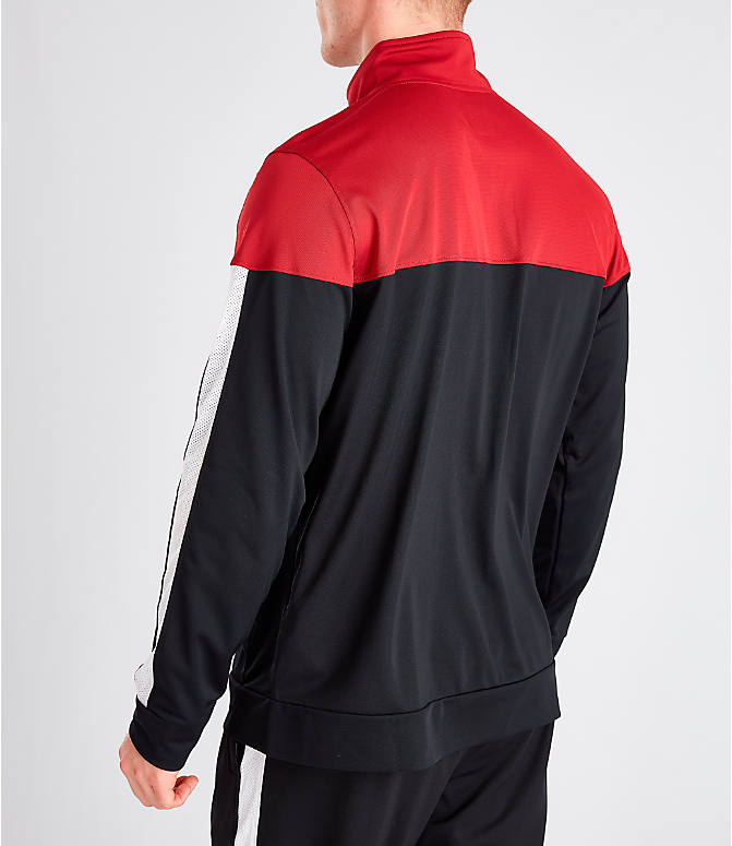 Back Left view of Men's Under Armour Sportstyle Pique Full-Zip Training Jacket in Red/Black