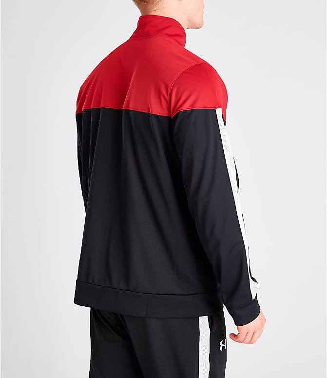 Back Right view of Men's Under Armour Sportstyle Pique Full-Zip Training Jacket in Red/Black