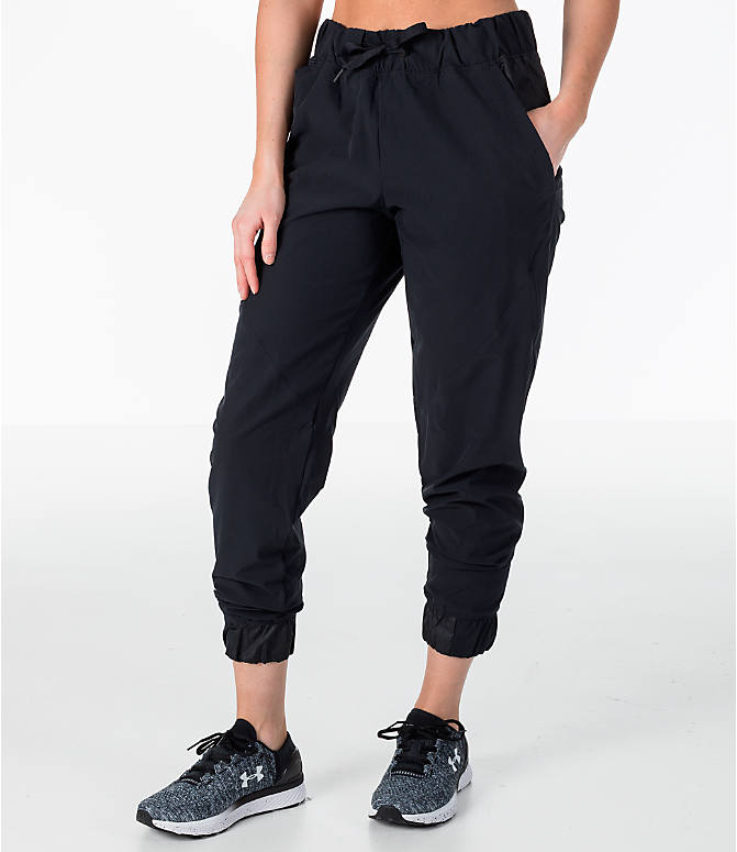 Front view of Women's Under Armour Storm Woven Jogger Pants in Black