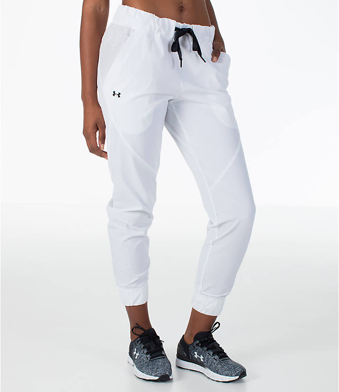 Front view of Women's Under Armour Storm Woven Jogger Pants in White/Black