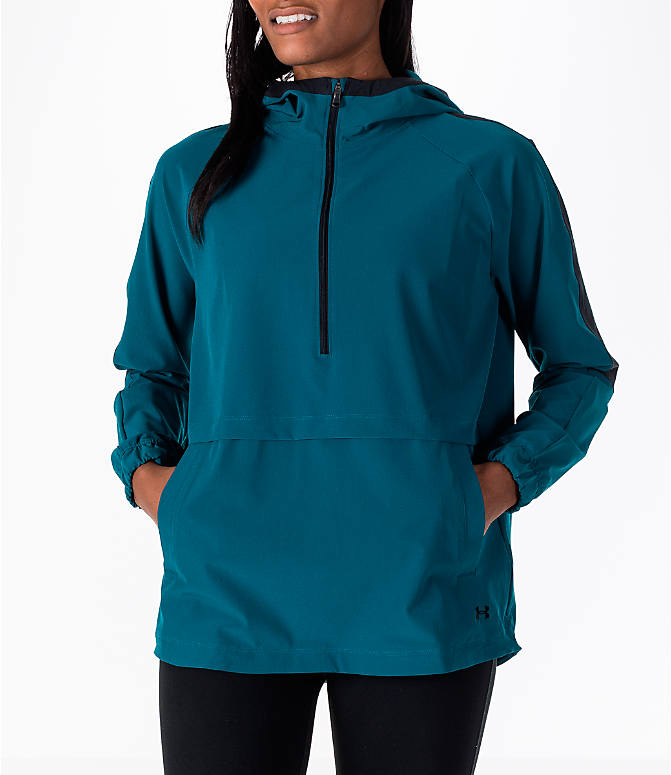 Front view of Women's Under Armour Storm Woven Anorak Jacket in Teal/Black
