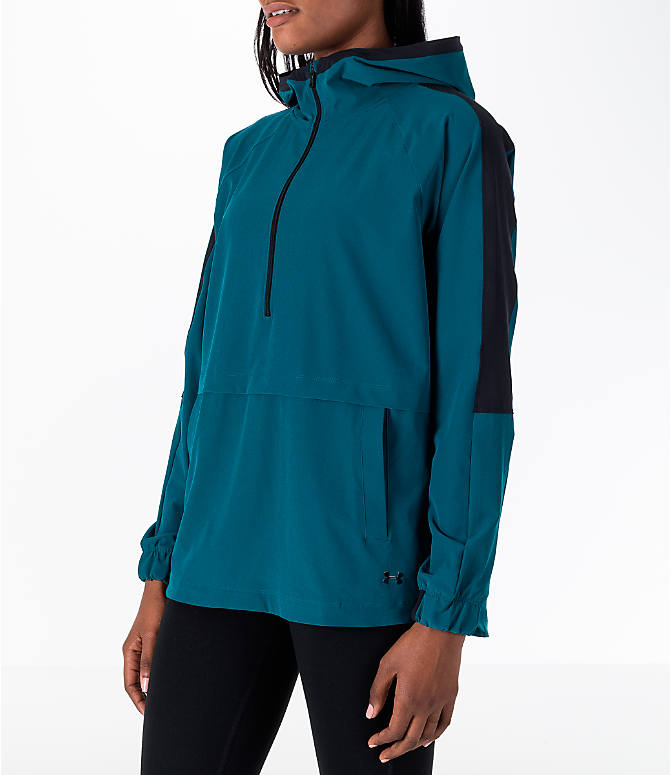 Front Three Quarter view of Women's Under Armour Storm Woven Anorak Jacket in Teal/Black