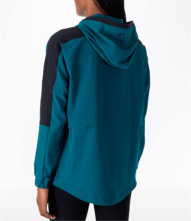 Back Left view of Women's Under Armour Storm Woven Anorak Jacket in Teal/Black