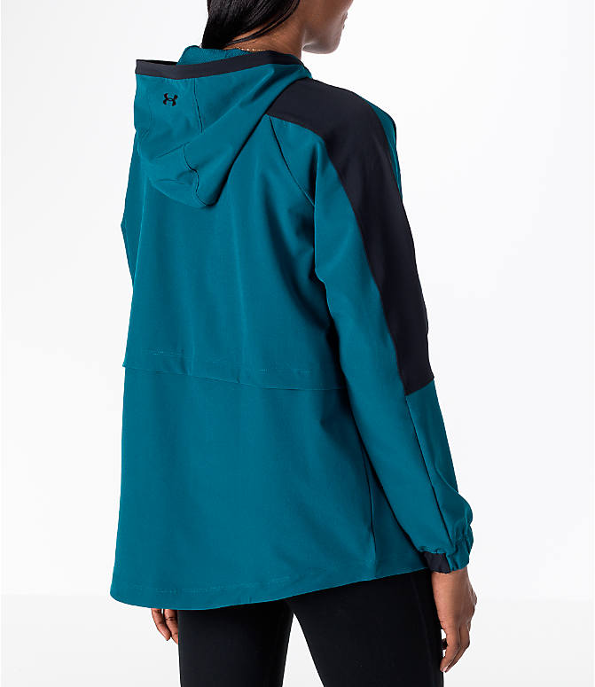 Back Right view of Women's Under Armour Storm Woven Anorak Jacket in Teal/Black