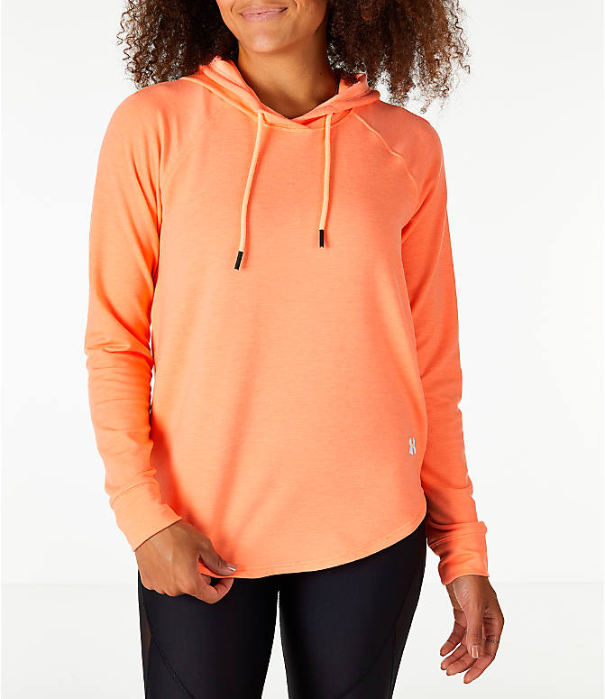 Front view of Women's Under Armour Featherweight Fleece Oversize Hoodie in Pink