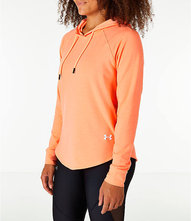 Front Three Quarter view of Women's Under Armour Featherweight Fleece Oversize Hoodie in Pink