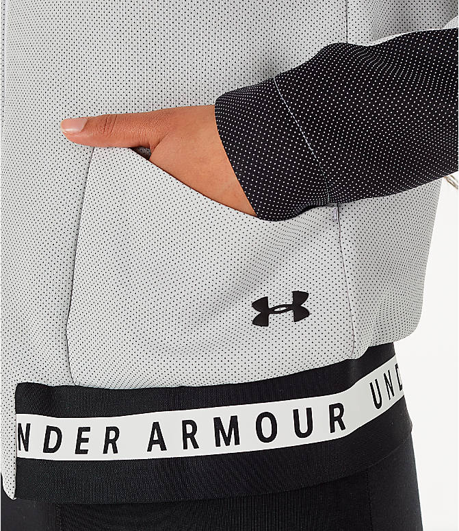 Detail 2 view of Women's Under Armour Unstoppable MOVE Full-Zip Hoodie in White/Black
