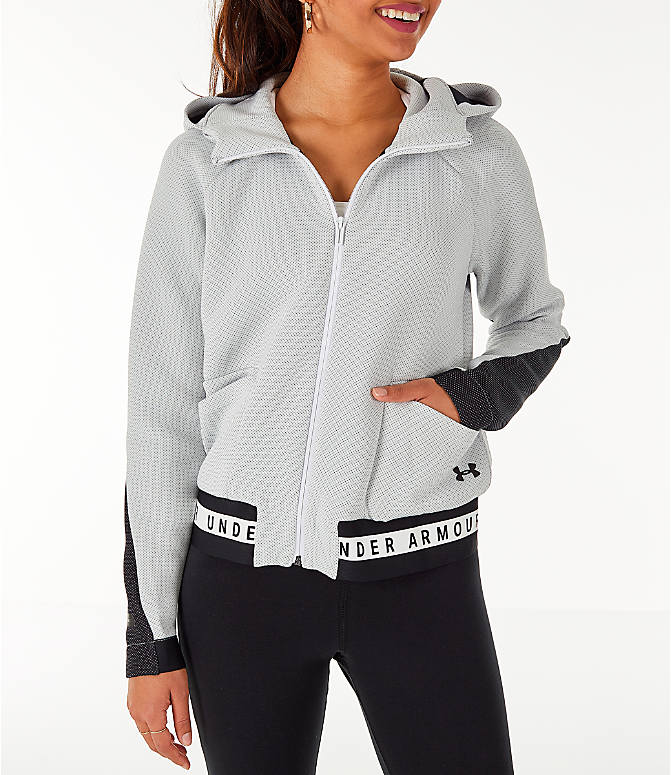 Front view of Women's Under Armour Unstoppable MOVE Full-Zip Hoodie in White/Black