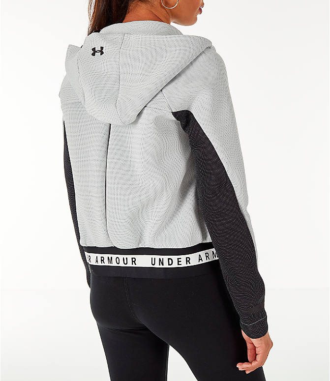 Back Right view of Women's Under Armour Unstoppable MOVE Full-Zip Hoodie in White/Black