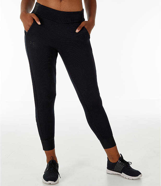 Front view of Women's Under Armour Unstoppable/MOVE Training Jogger Pants in Black