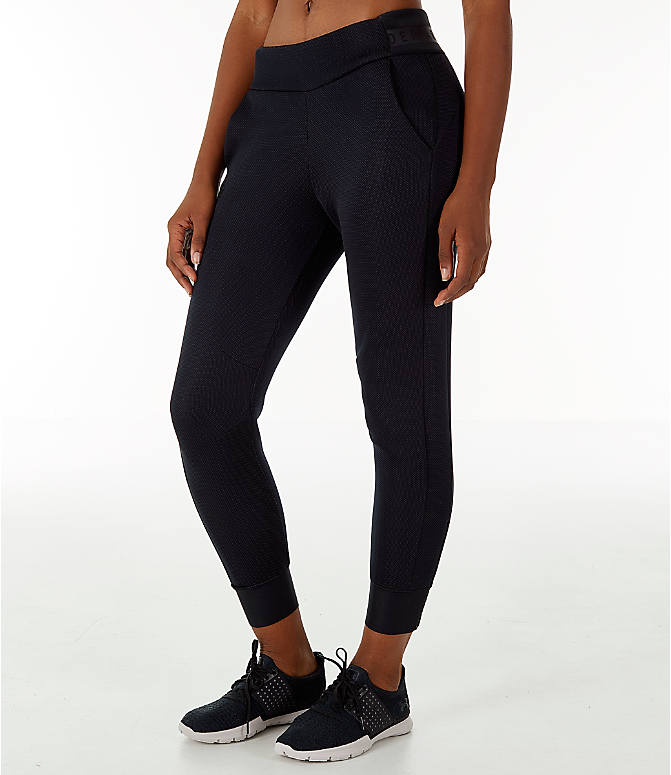 Front Three Quarter view of Women's Under Armour Unstoppable/MOVE Training Jogger Pants in Black