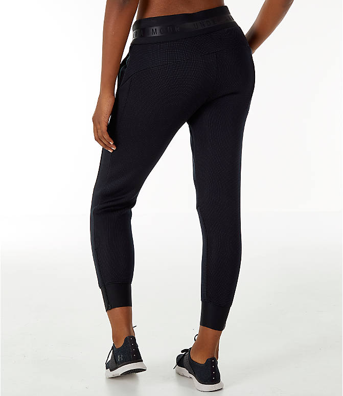 Back Left view of Women's Under Armour Unstoppable/MOVE Training Jogger Pants in Black