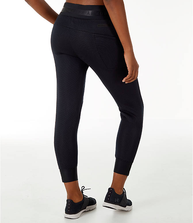 Back Right view of Women's Under Armour Unstoppable/MOVE Training Jogger Pants in Black