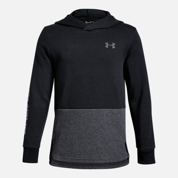Front view of Boys' Under Armour Double Knit Pullover Hoodie in Black/Grey