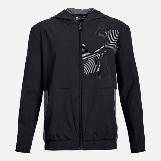 Front view of Boys' Under Armour Windwear Hoodie in Black/Grey