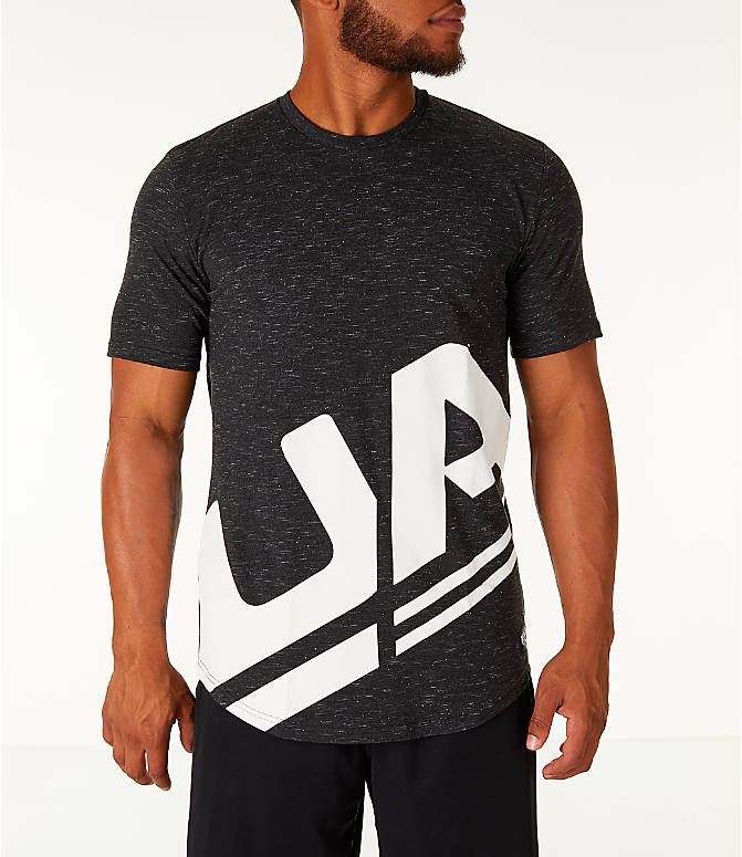 Front view of Men's Under Armour Sportstyle Branded T-Shirt in Black/White