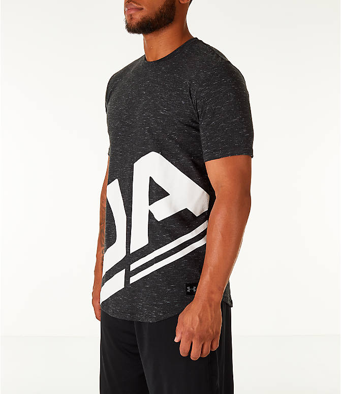 Front Three Quarter view of Men's Under Armour Sportstyle Branded T-Shirt in Black/White