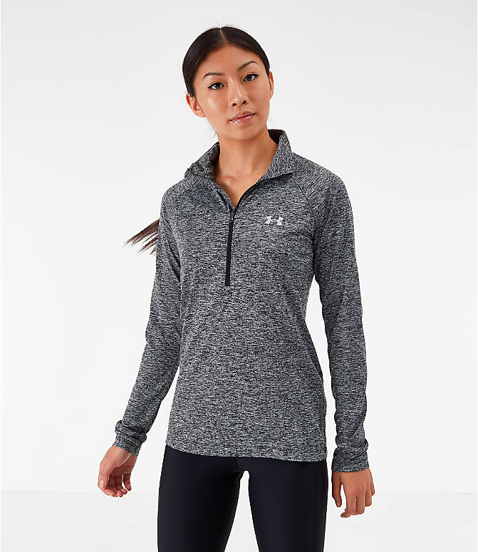 Front view of Women's Under Armour Tech Twist Half-Zip Long-Sleeve Training Top in Charcoal Grey/Black