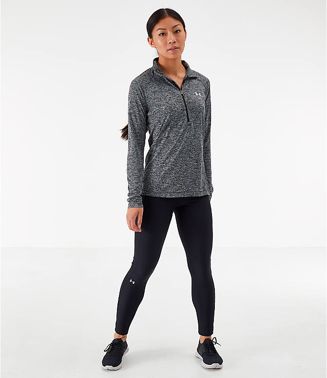 Front Three Quarter view of Women's Under Armour Tech Twist Half-Zip Long-Sleeve Training Top in Charcoal Grey/Black