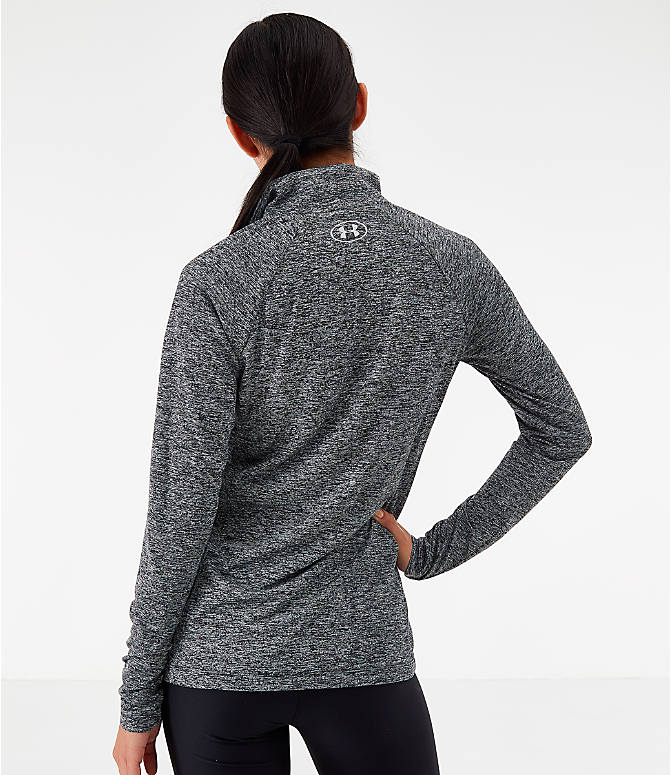 Back Left view of Women's Under Armour Tech Twist Half-Zip Long-Sleeve Training Top in Charcoal Grey/Black
