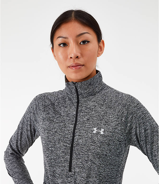 Back Right view of Women's Under Armour Tech Twist Half-Zip Long-Sleeve Training Top in Charcoal Grey/Black