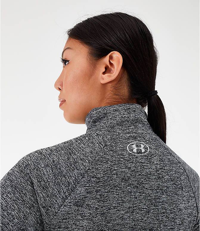 On Model 5 view of Women's Under Armour Tech Twist Half-Zip Long-Sleeve Training Top in Charcoal Grey/Black