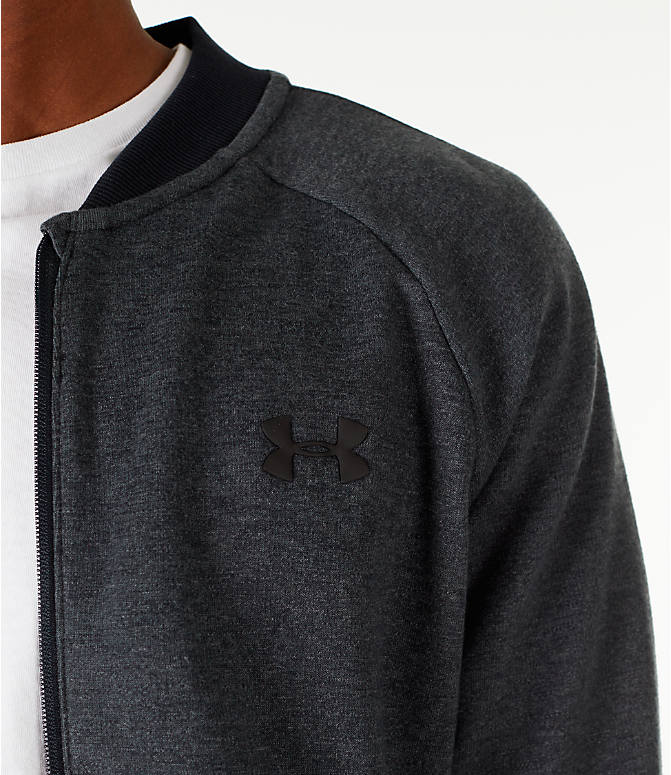 Detail 1 view of Men's Under Armour Unstoppable Double Knit Bomber Jacket in Black