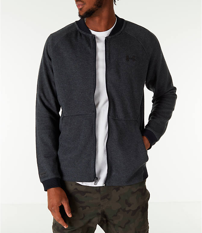 Front view of Men's Under Armour Unstoppable Double Knit Bomber Jacket in Black