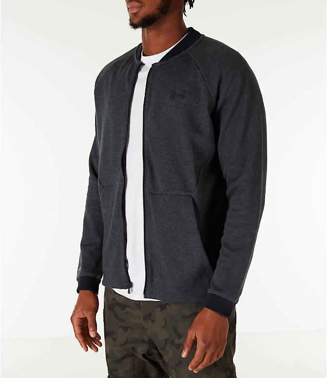 Front Three Quarter view of Men's Under Armour Unstoppable Double Knit Bomber Jacket in Black