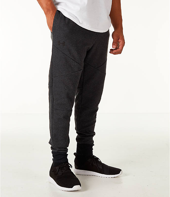 Front view of Men's Under Armour Unstoppable 2x Knit Jogger Pants in Black/Black