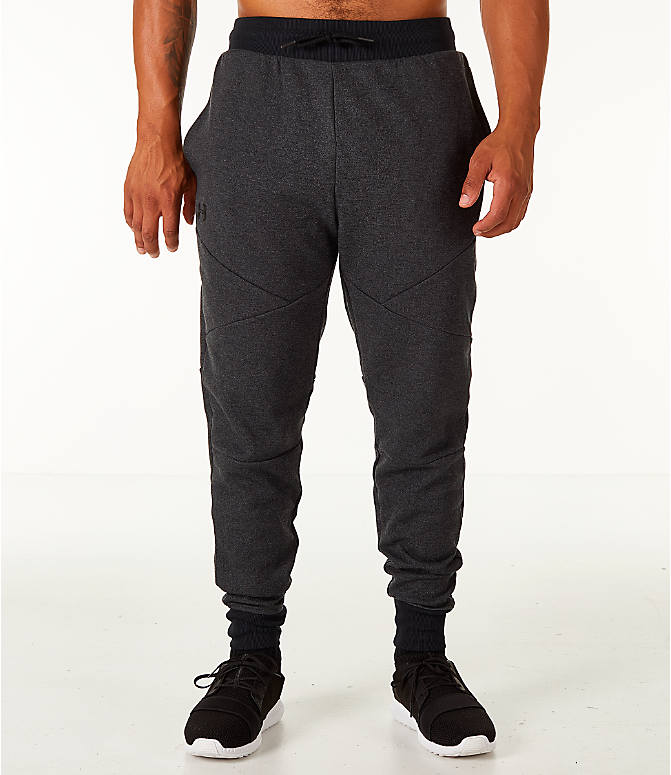 Front Three Quarter view of Men's Under Armour Unstoppable 2x Knit Jogger Pants in Black/Black