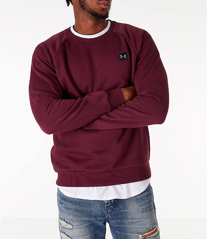 Detail 2 view of Men's Under Armour Rival Fleece Crew Sweatshirt in Maroon