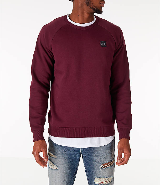 Front view of Men's Under Armour Rival Fleece Crew Sweatshirt in Maroon