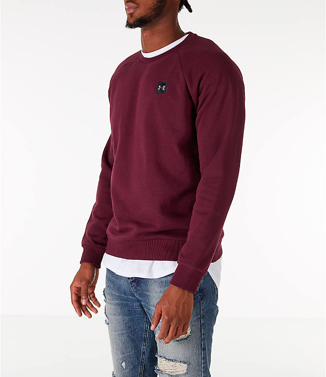 Front Three Quarter view of Men's Under Armour Rival Fleece Crew Sweatshirt in Maroon