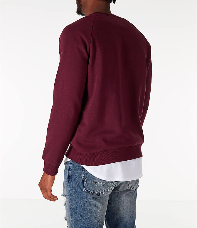 Back Left view of Men's Under Armour Rival Fleece Crew Sweatshirt in Maroon