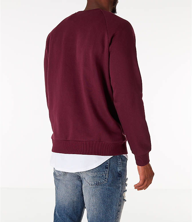 Back Right view of Men's Under Armour Rival Fleece Crew Sweatshirt in Maroon