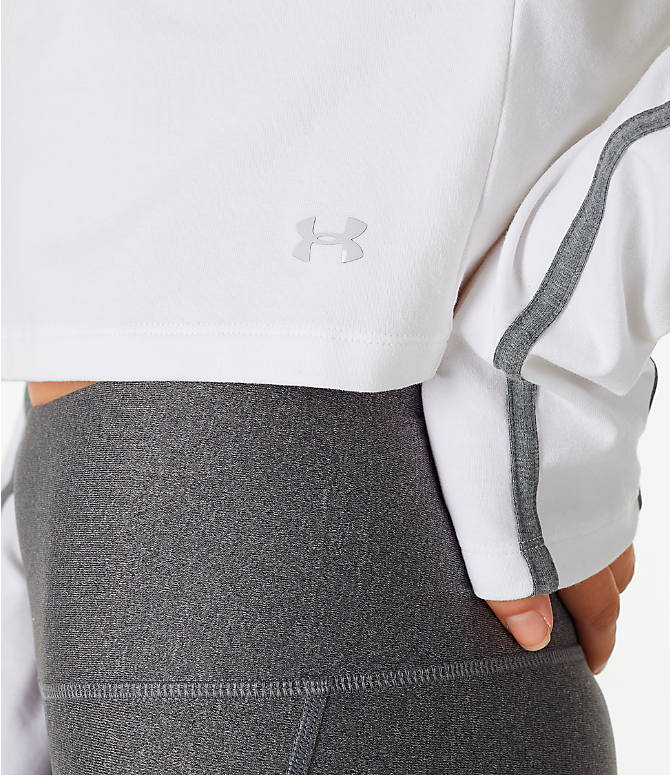 Detail 1 view of Women's Under Armour Long-Sleeve Cropped Crew Shirt in White