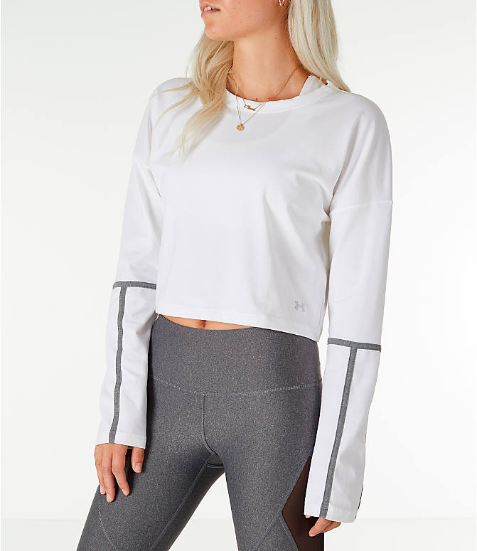 Front view of Women's Under Armour Long-Sleeve Cropped Crew Shirt in White