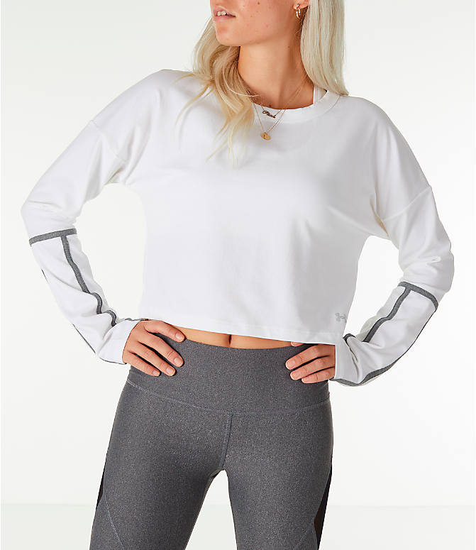 Front Three Quarter view of Women's Under Armour Long-Sleeve Cropped Crew Shirt in White