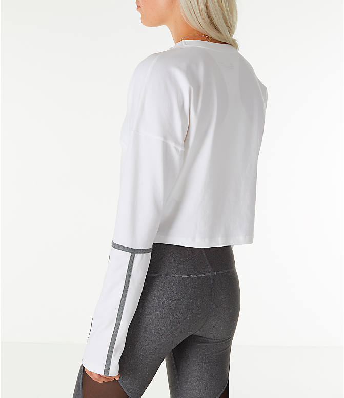 Back Left view of Women's Under Armour Long-Sleeve Cropped Crew Shirt in White